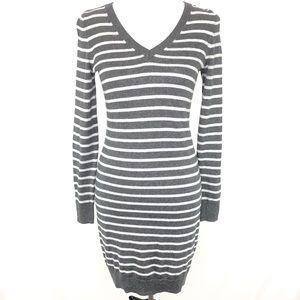 Old Navy Heather Grey Striped Sweater Dress XS